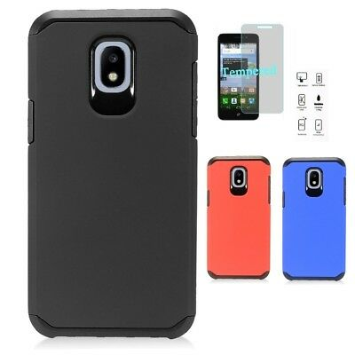 For Samsung Galaxy J7 Crown Slim Armor Hard Cover Case + Tempered Glass