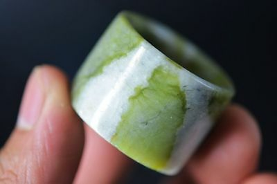 Delicate Chinese old jade Carved Fingerstall/Thumb Ring  F89