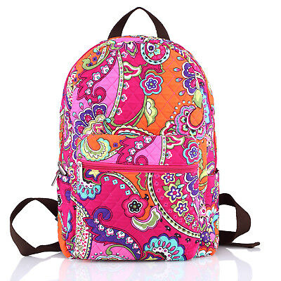 Large Quilted Cotton Floral Zip Girls School Campus Backpack Baby Bag Plum Crazy