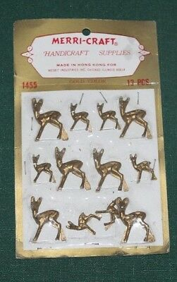 Sealed Package of 12 Vintage Christmas Decorations Merri-Craft Reindeer Plastic