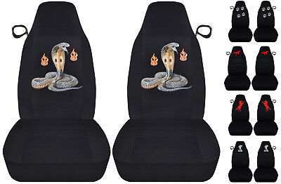 Fit 94-04 Ford Mustang  front set car seat covers black w/cobra/horse/wolf...