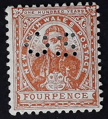 1899- NSW Australia 4d Orange Brown Cook Centenary of NSW Stamp O S Perf Mint