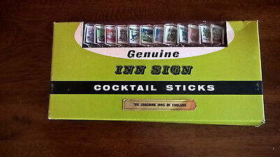 VINTAGE/ RETRO 12 ASSORTED GENUINE 50's INN OF ENGLAND SIGN COCKTAIL STICKS  BN