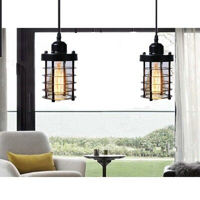 Cage Pendant Light Black Fixture Vintage Industrial Hanging Ceiling Set 2 Mini