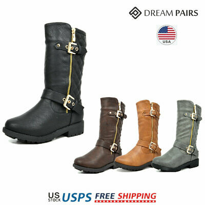 DREAM PAIRS Girls Toddle/ Kid Faux Fur Lining Winter Motorcycle Riding Boots