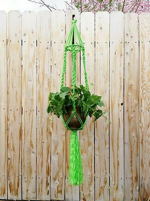 """Large Macrame Plant Hanger~Tropical Green~Bird Cage Top~Twist/Square Knot~54"""""""