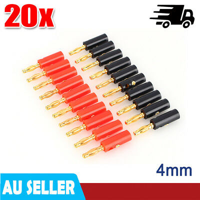 20pcs Audio Speaker Cable Wire Connector Banana Plug 10 Red 10 Black 0.87x3.82cm