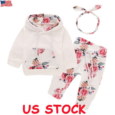 3PCS Newborn Toddler Baby Girl Boy Outfits Floral Clothes Hoodie Tops+Pants Set