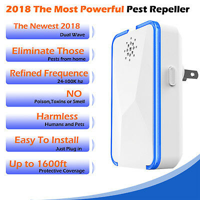 6W Electronic Ultrasonic Pest Reject Repeller Mosquito Cockroach Mouse Killer AU