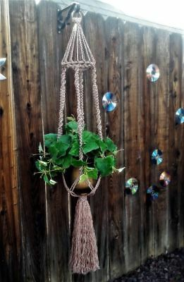 """Large Macrame Plant Hanger~Heather Brown-Bird Cage Top~Twist/Square Knot~54"""""""