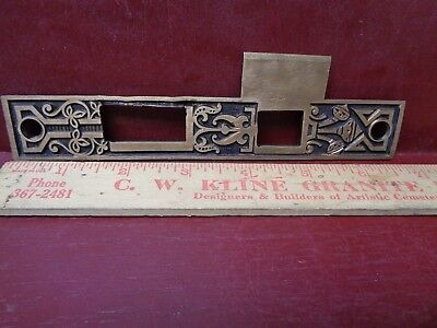"LARGE 6 3/4"" ANTIQUE HEAVY CAST BRASS MORTISE LOCK STRIKE PLATE L or R #8"