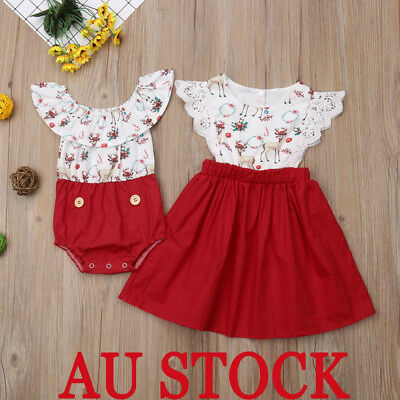 AU STOCK Little/Big Sister Baby Girl Kids Floral Romper Dress Matching Outfits