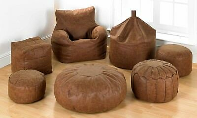Faux Leather Antique Effect Brown BeanBag Chair Footstool Pouffe Collection