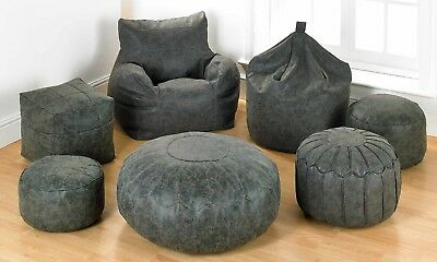 Faux Leather Antique Distressed Grey Bean Bag Chair Footstool Pouffe Collection