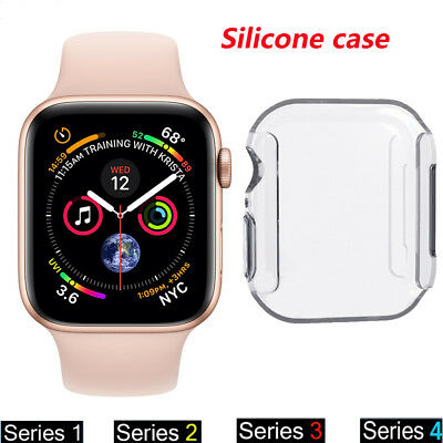 For Apple Watch Series 4 3 2 1 Full Cover TPU Slim Clear Case Screen protector