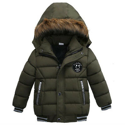 Boys kids winter warm padded parka parker jacket faux fur hood coat black navy