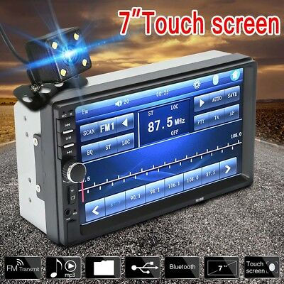 7in Double 2din Car Mp5 Mp3 Player Bluetooth Touch Stereo Radio Fm Usb + Camera