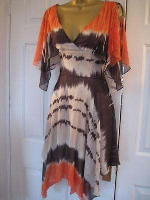 DE163 Karen Millen BNWT UK 6 Orange brown Boho Floaty Silk ULTRA RARE Dress