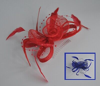 Royal blue or bright red sinamay feather rose wedding/races fascinator hair comb