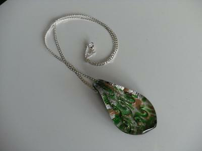Beautiful Vintage Sterling Silver Chain & Glass Pendant
