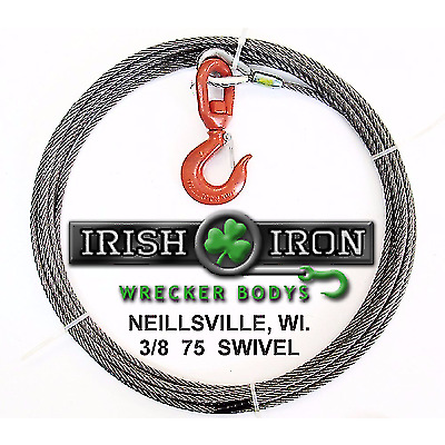 "3/8"" X 75' Winch Cable Steel Core, Wire Rope With Swivel Hook.Wrecker,Rollback."