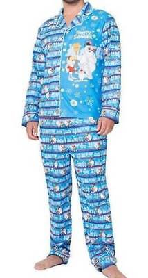 7f6a08e138 NWT-Mens Christmas Frosty The Snowman Blue Coat Style 2 Pc Pajamas- S