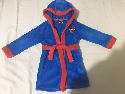 Super Baby Superman Dressing Gown/ Robe 12-18 months boy/girl blue red 1-1.5yrs