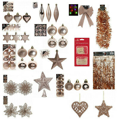 Rose gold Christmas Tree Ornaments Hanging Baubles,Star,Heart,Drops Xmas Decor