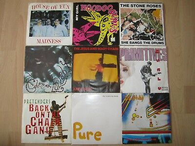 """Vinyl Singles 7"""" Stone Roses Pretenders Primitives The Cure Madness Def leppard"""