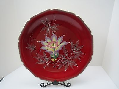 """Heinrich H&C Selb Bavaria China 13"""" Charger Plate RED Silver Floral IRIS Flower"""