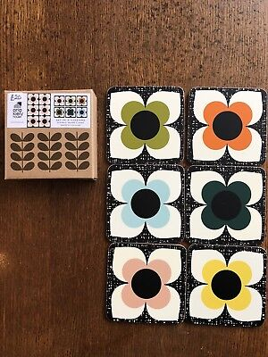 Orla Kiely Scribble Square Flower Set Of 6 Coasters Brand New A/W18 Range