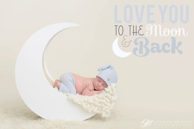 Wooden Moon Newborn Baby Photography Prop White Inside