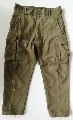 VTG French Army 1940s M47 Military Trousers Pants Patched Chore Work