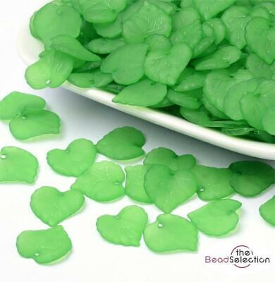 100 GREEN ACRYLIC LUCITE FROSTED LEAF BEADS 16mm LUC42