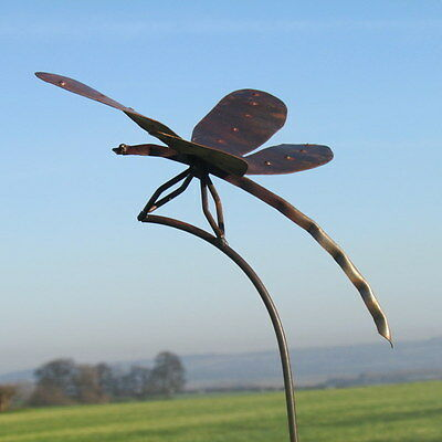 Handcrafted metal large dragonfly garden stake ornament sculpture ironwork art