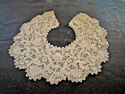 "Antique Lace Collar Ornate Italian Ecru  6"" deep 30"" long (A23)"