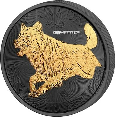2018 1 Oz Silver $5 CANADIAN WOLF Golden Enigma Ruthenium Coin.