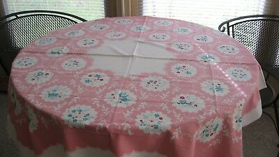 Vintage Mid-Century white cottonTablecloth with Pink scalloped Frame