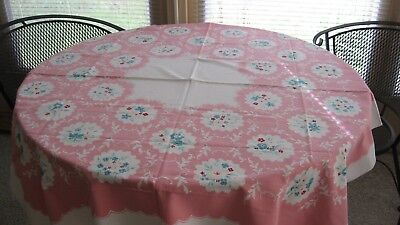 Vintage Mid-Century white cotton Tablecloth with Pink scalloped Frame