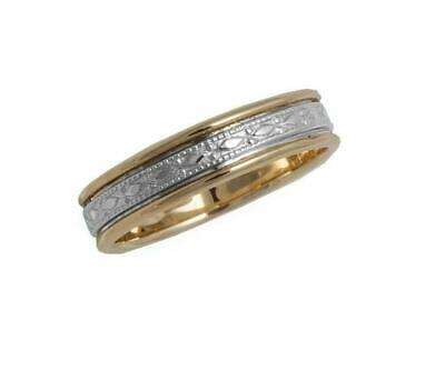 10k Yellow White Gold Center Grooved Antique Style 6mm Unisex Wedding Band Ring