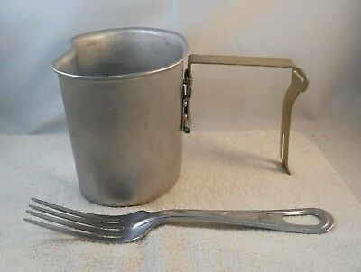 Vintage Vietnam Era US Military W.C.W. Stainless Canteen Cup & Fork