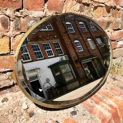 Antique 19th Century Brass & Gilt Oval Bevelled Wall Mirror Vintage Foxed Plate