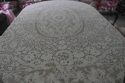 Hand Crochet Lace Figural Tablecloth Cherubs Flowers For Cutter Or Repair