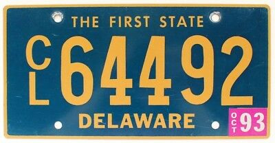 """Delaware 1993 """"The First State"""" Truck License Plate, CL64492"""