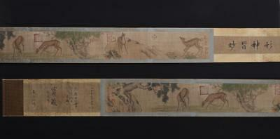 Fine Antique Chinese Hand-painting Scroll Lang Shining Marked-deer