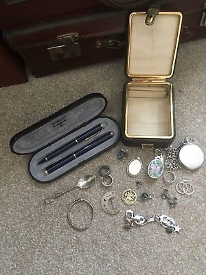 Vintage Case Full Of Hallmarked Silver Items