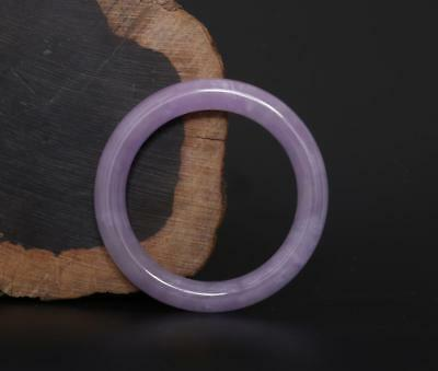 Very Fine Chinese Carved Natural Jadeite Jade Purple Bracelet-58mm