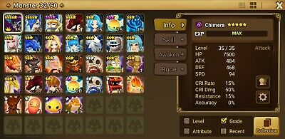 G:92 Global Summoners War Starter Account with Dark Chimera (extremely rare)