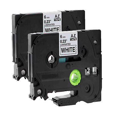 2PK Black on White Label Tape TZ TZe-211 0.24'' for Brother P-touch printer 6mm