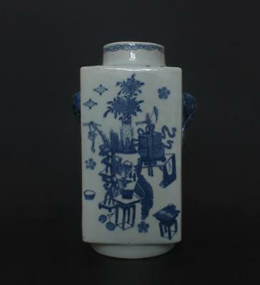 Superb Antique Chinese Porcelain Blue and White Vase Qianlong Marked-elephant
